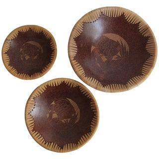 Terracotta Fish Motif Nesting Bowls - Set of 3