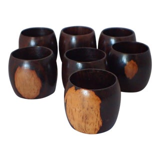 Mid-Century Teak Wood Napkin Rings - Set of 7