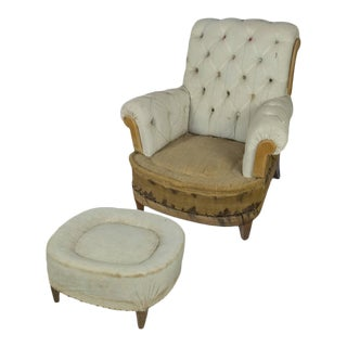 Large Tufted Armchair & Ottoman