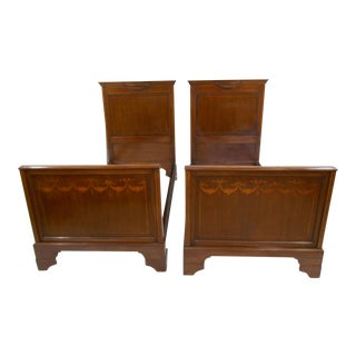 French Style Inlaid Twin Beds - A Pair