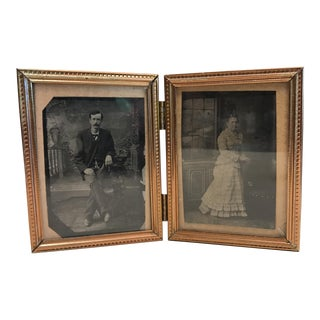 Tintype Photographs in Pocket Frame - A Pair