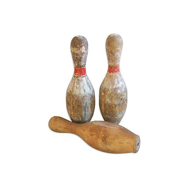 Image of 1930s Wood Bowling Pins - Set of Three