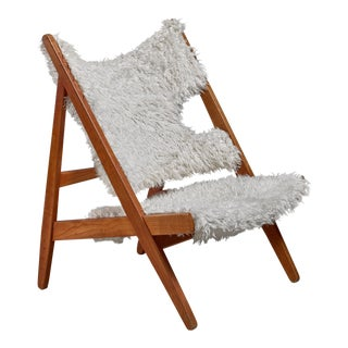 Ib Kofod-Larsen Limited Edition Sheepskin Knitting Chair, Denmark, 1951