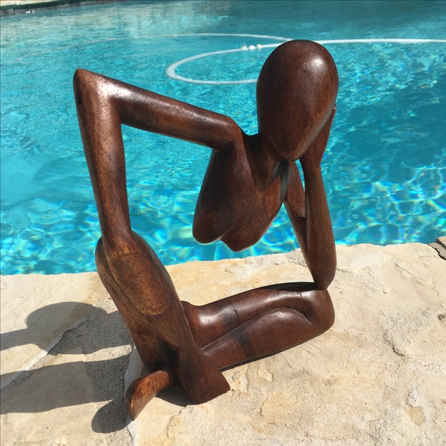Mid-Century Modern Wooden Sculpture - Image 7 of 7