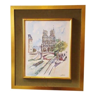 Mid-Century Paris Seine Watercolor Lithograph