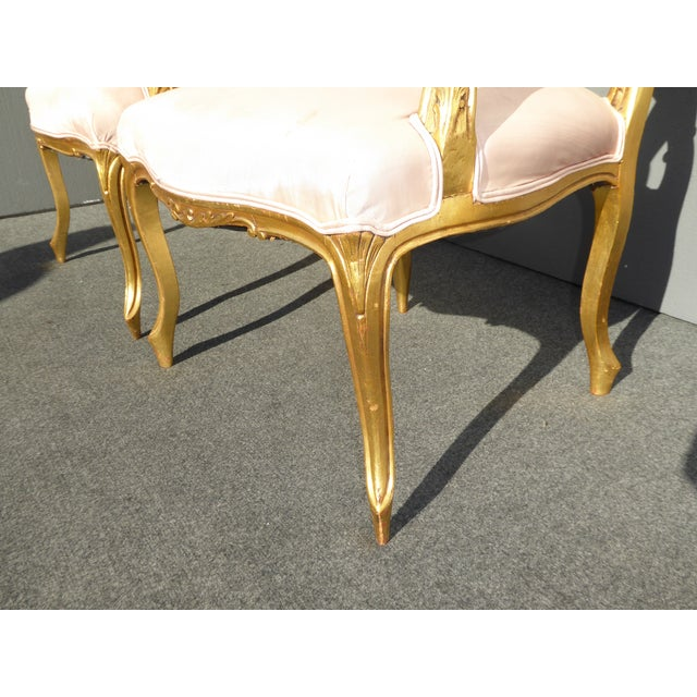 Vintage French Rococo/Louis XV Style Giltwood Accent Chairs- A Pair - Image 11 of 11