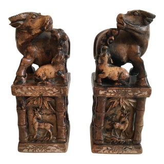 Chinese Carved Water Buffalo Seals - A Pair