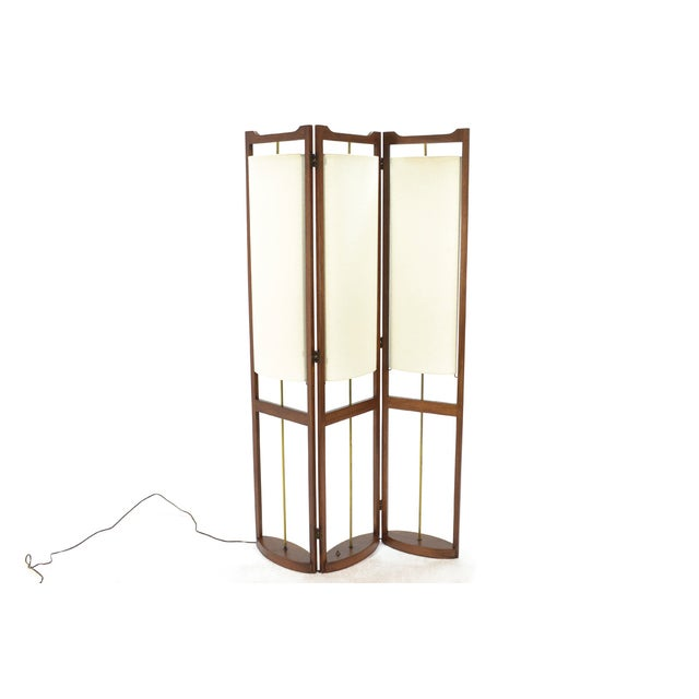 Three Panel Walnut Folding Lamp Room Divider - Image 2 of 7