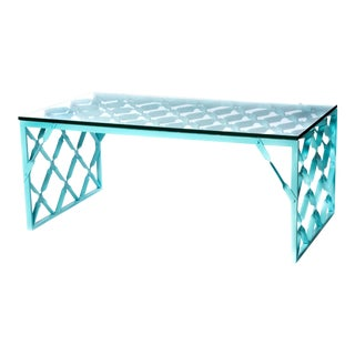 Aqua Turquoise Metal Table