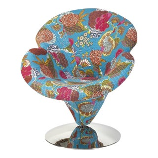 Stitched Upholstery Turquoise Swivel Kantha Egg Chair