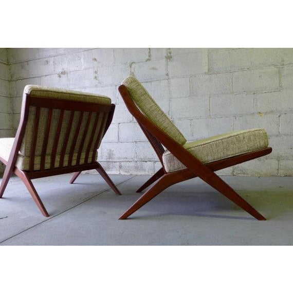 Mid Century Modern Scissor Lounge Chairs - Pair - Image 5 of 6