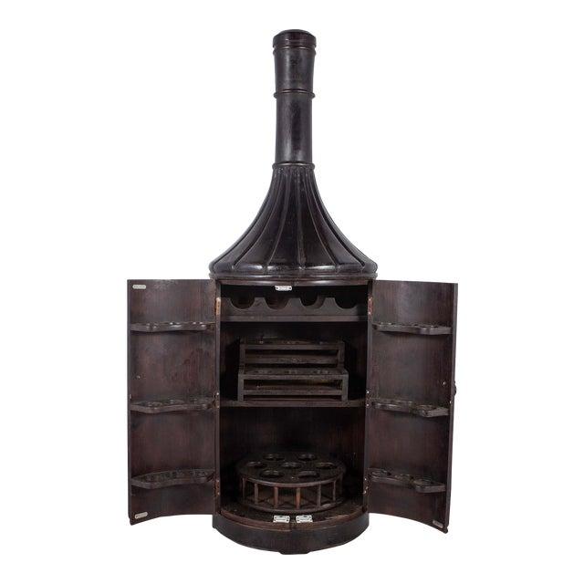 Teak Wood 6ft Bottle Shaped Wine Rack Cabinet - Image 1 of 3