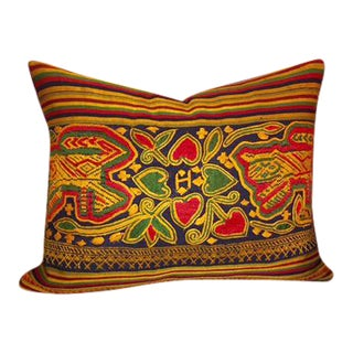 Vintage Laotian Handwoven Embroidered Pillow