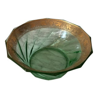 Vintage Depression Green Glass Bowl