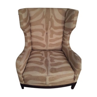 Ironies Hide Wing Chair With Nailhead Detail