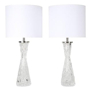 PAIR OF BUBBLE-TEXTURED CLEAR GLASS LAMPS BY CARL FAGERLUND FOR ORREFORS, CIRCA 1970s