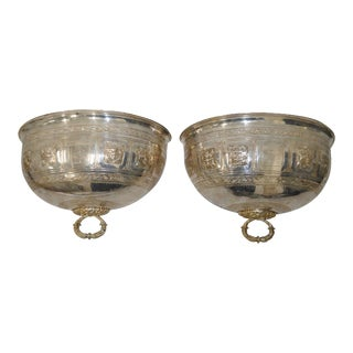 19th Century Silver Plate Hanging Wall Planters - A Pair