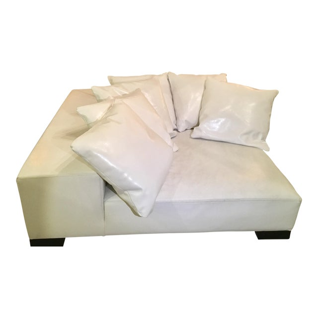 Modern White Leather Minimal Square Sofa - Image 1 of 10
