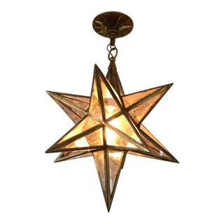 Moravian Gilded Iron & Antique Mirror Star Lantern