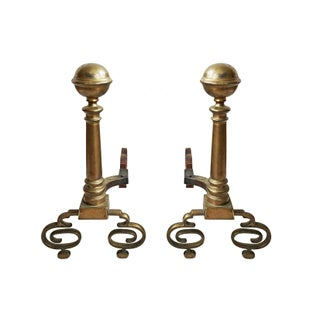 Fancy Brass Andirons - A Pair