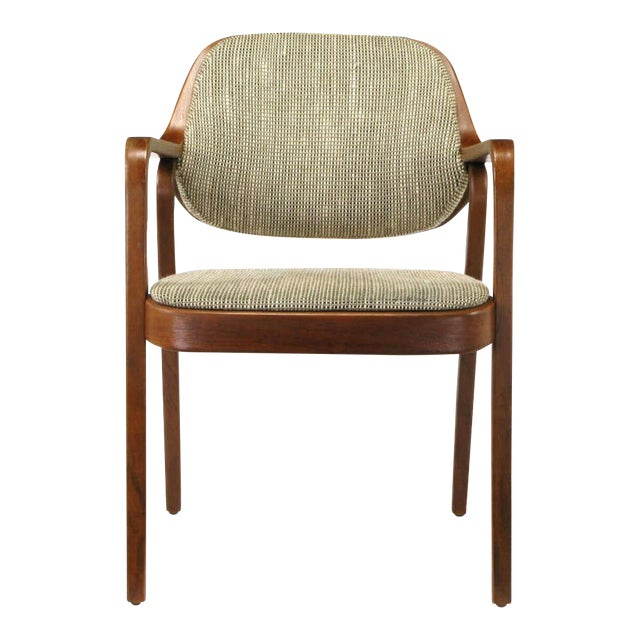 Pair Don Pettit for Knoll Bent Mahogany Wood Arm Chairs Circa 1978 - Image 1 of 6