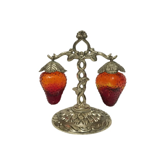 Image of Hanging Glass Strawberry Salt and Pepper Shakers