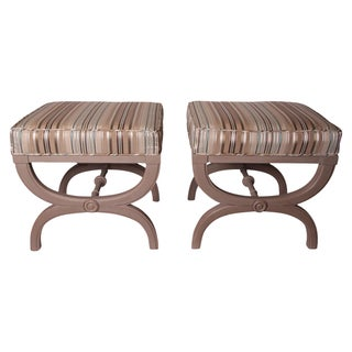 Vintage Hollywood Regency X-Benches - A Pair