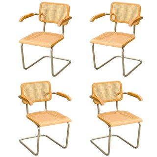 "Marcel Breuer Wicker Back Chrome ""Cesca"" Chairs - Set of Four"