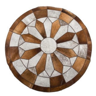 Hair-on-Hide Beige & White Cowhide Patchwork Round Area Rug - 6′7″ × 6′7″