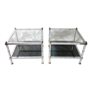 Modern Chrome & Glass Tables - Pair