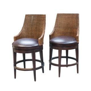 Woodbridge Leather & Wicker Bar Stools - A Pair
