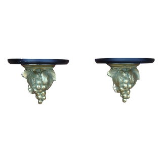 Deco Brass Grape Wine Cellar Shelf Sconce - Pair