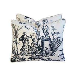 Designer French Countryside Toile Pillows - a Pair
