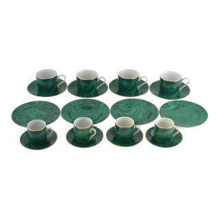 Neiman Marcus Malachite Coffee Demitasse Set