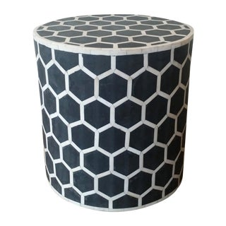 Black & White Bone Inlay Side Table
