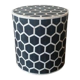 Black & White Bone Inlay Side Table