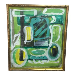 Bamboo Framed Acrylic Painting
