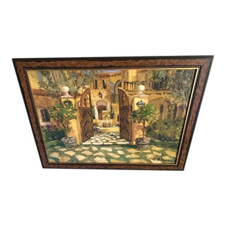 Italian Country Villa Signed & Framed Oil Painting