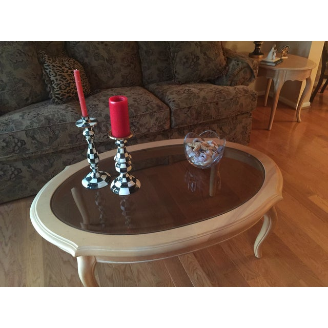 Ethan Allen Coffee Table Glass Top: Ethan Allen French Country Coffee Table