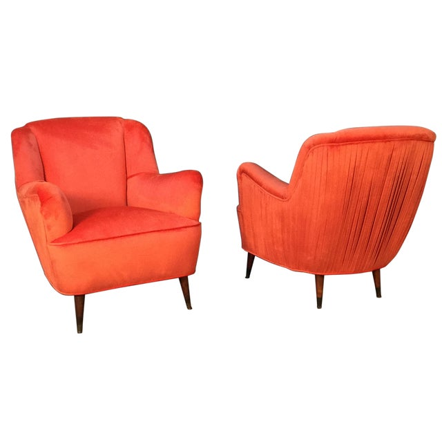 Mid Century Club Chairs With Velvet Pleat - Pair - Image 1 of 9