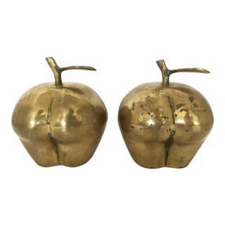 Solid Brass Apple Figurines/Paper Weights - A Pair