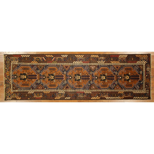 "Brown & Navy Balouch Runner Rug - 3' x 9'10"" - Image 1 of 9"