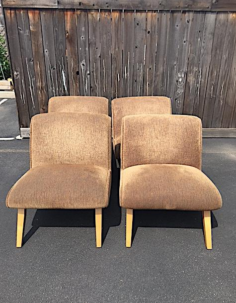 image of norman bel geddes style midcentury slipper chair set of 4
