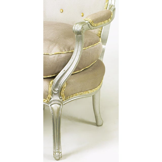 Pair of Silver Lacquer Button Tufted Velvet Louis XV Fauteuils - Image 7 of 7