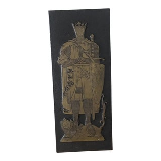 Vintage Medieval Brass Etching of Lion and Knight
