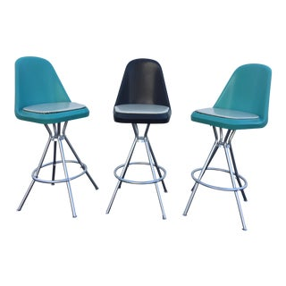 Mid-Century Turquoise and Black Swivel Bar Stools - Set of 3
