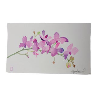 Mulberry Orchid Watercolor Painting
