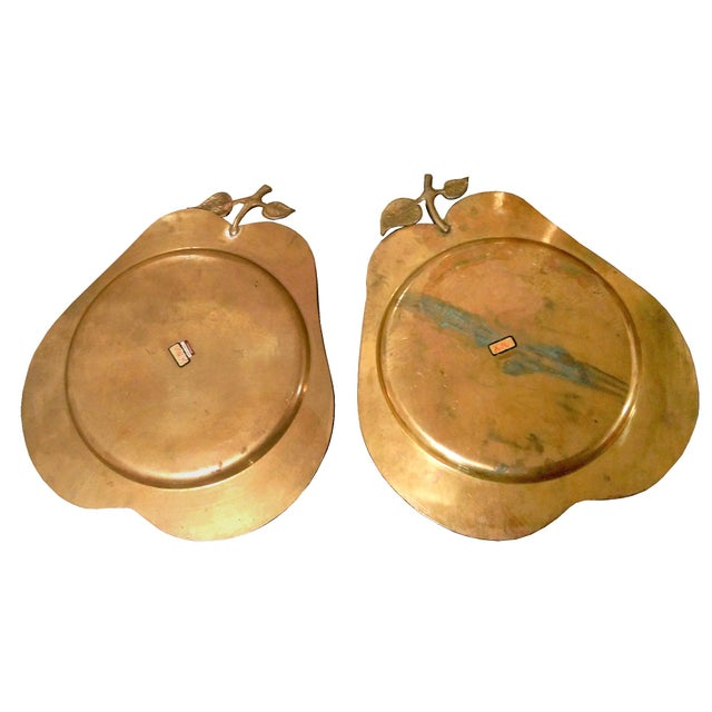 Vintage Brass Pear Serving Trays - Pair - Image 2 of 5