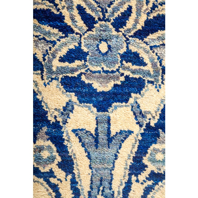 """New Blue Suzani Hand-Knotted Rug - 5'6"""" X 9'4"""" - Image 3 of 3"""