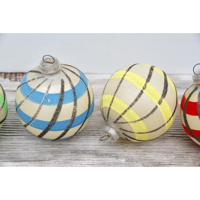 Striped West German Christmas Ornaments - Set of 5 - Image 3 of 11